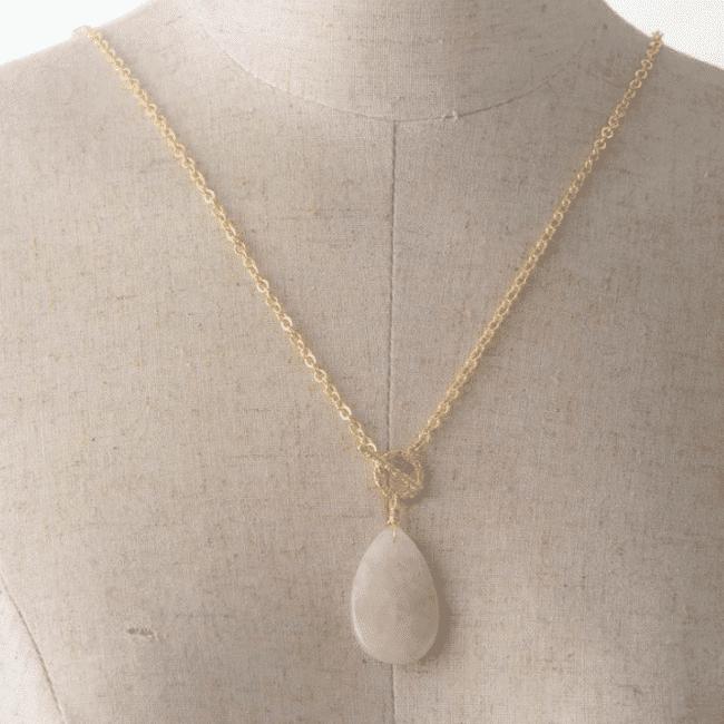 Collier Goutte en Quartz Rose Bijoux pierre naturelle Collier pierre naturelle