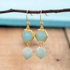 Exclusif femmes boucles d'oreilles à facettes Amazonite boucles d'oreilles classique élégant cadeaux bijoux cadeaux livraison directe