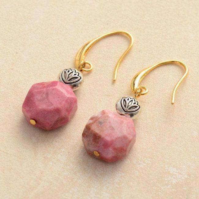 Boucles D'oreilles Fleur De Lotus En Rhodonite Bijoux pierre naturelle Boucles d'oreilles pierre naturelle