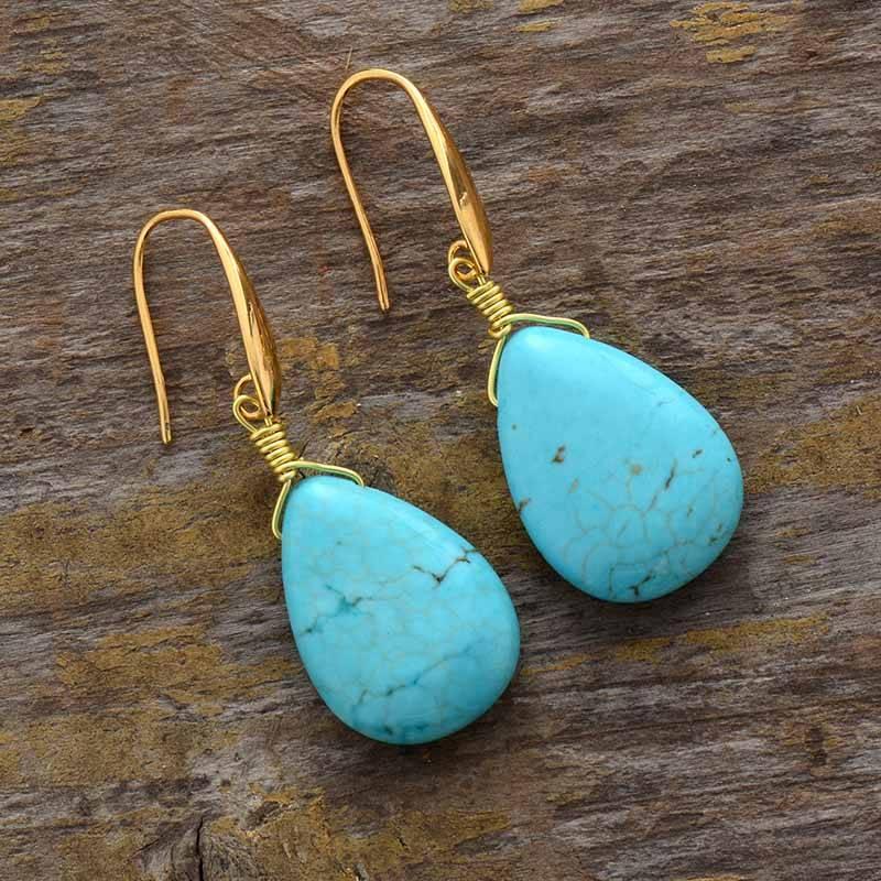 Boucles D'oreilles Gouttes En Turquoise