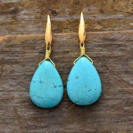 Boucles D'oreilles Larme En Turquoise