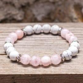 Bracelet en howlite & quartz rose