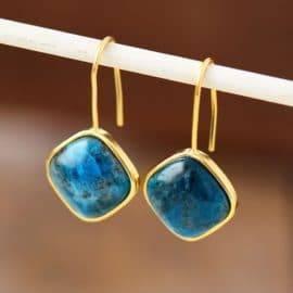 Boucles d'Oreilles Pierre Naturelle «Apatite» Bijoux pierre naturelle Boucles d'oreilles pierre naturelle