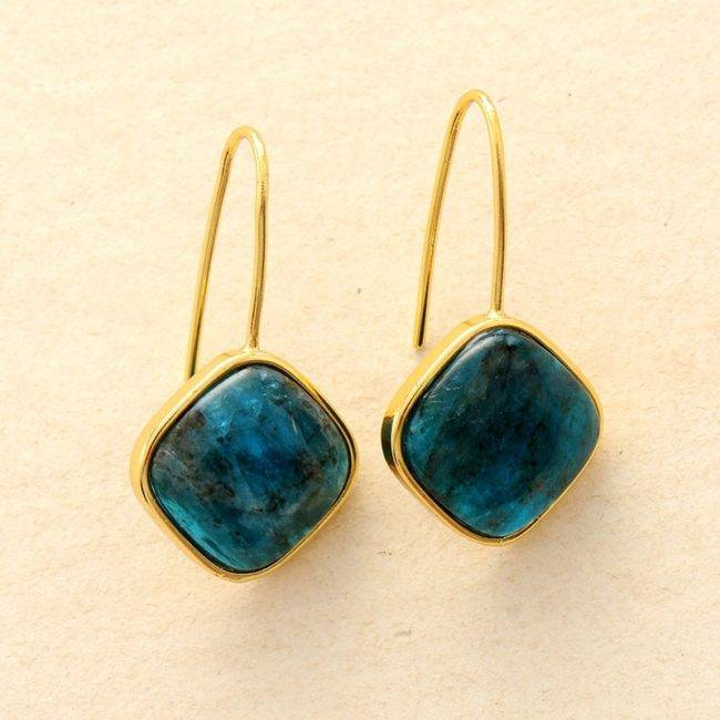 Boucles D'oreilles Carré En Apatite Bijoux en pierre naturelle Boucles d'oreilles en pierres naturelles