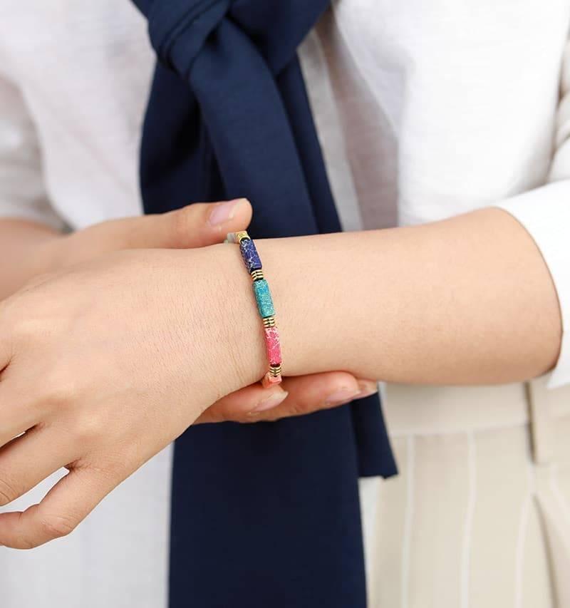 Bracelet Fin Arc-En-Ciel Bijoux en pierre naturelle Bracelet en pierre naturelle