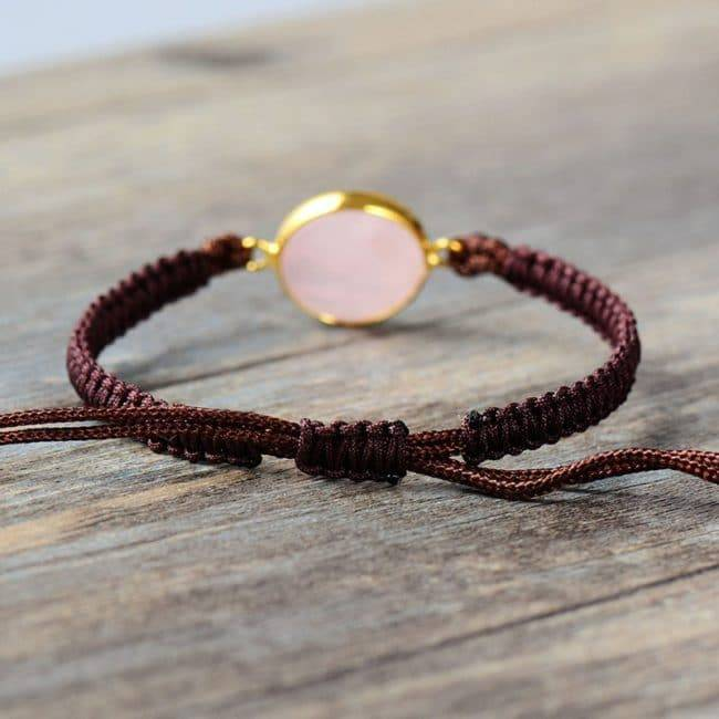 Bracelet Pierre De Quartz Rose Bijoux en pierre naturelle Bracelet en pierre naturelle