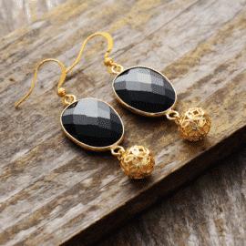 Boucles d'Oreilles Pierre Naturelle «Gouttes Onyx» Bijoux pierre naturelle Boucles d'oreilles pierre naturelle