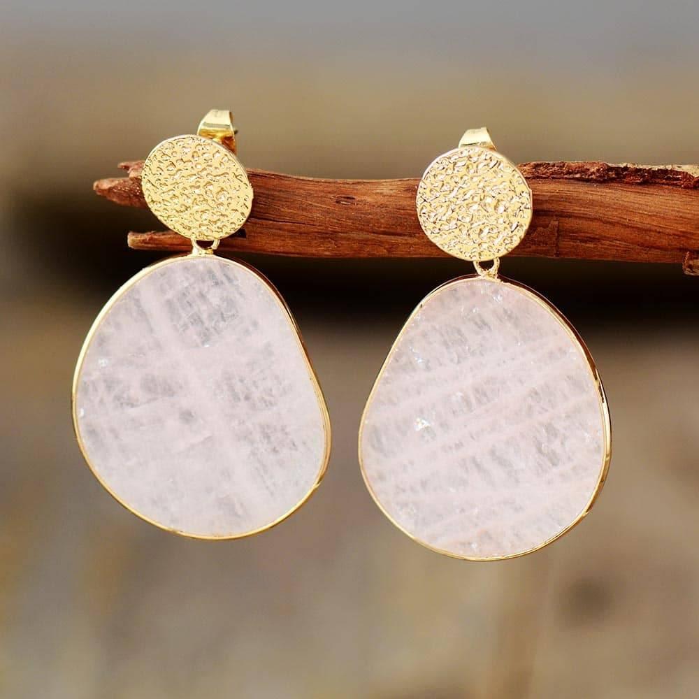 Boucles D'oreilles Dorées En Quartz Rose Bijoux en pierre naturelle Boucles d'oreilles en pierres naturelles
