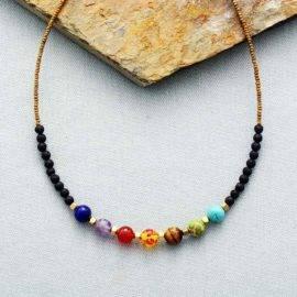 Collier Fin 7 Chakras Bijoux pierre naturelle Collier pierre naturelle