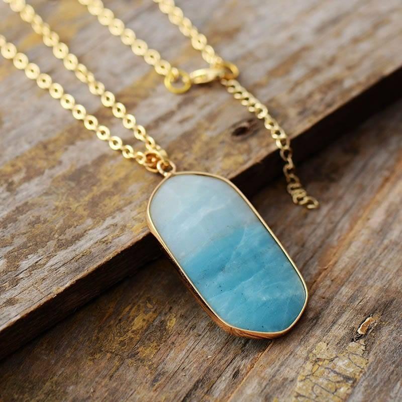 Collier Géométrique En Amazonite Bijoux en pierre naturelle Collier en pierre naturelle
