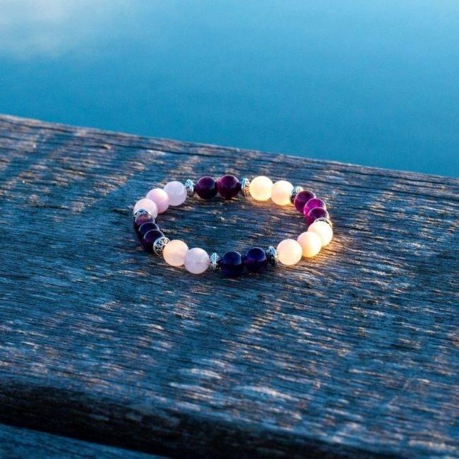Bracelet Apaisant En Améthyste Et Quartz Rose Bijoux en pierre naturelle Boucles d'oreilles en pierres naturelles Bracelet en pierre naturelle