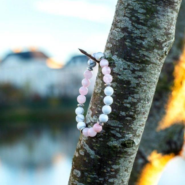Bracelet Quartz Rose Et Howlite Bijoux pierre naturelle Bracelet pierre naturelle