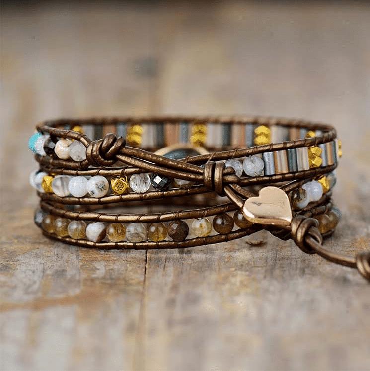 Bracelet Infini Labradorite Bijoux pierre naturelle Bracelet pierre naturelle