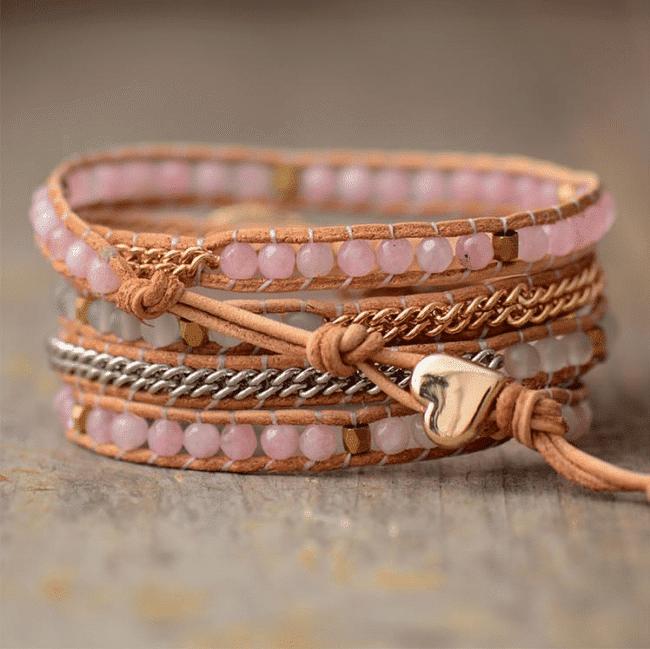 Bracelet Infini Quartz Rose Bijoux pierre naturelle Bracelet pierre naturelle