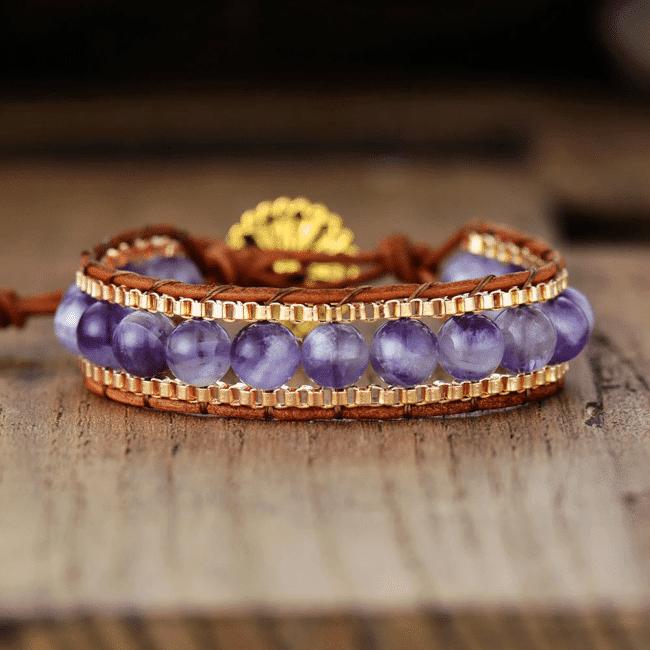 Bracelet Pierre Améthyste Bijoux pierre naturelle Bracelet pierre naturelle