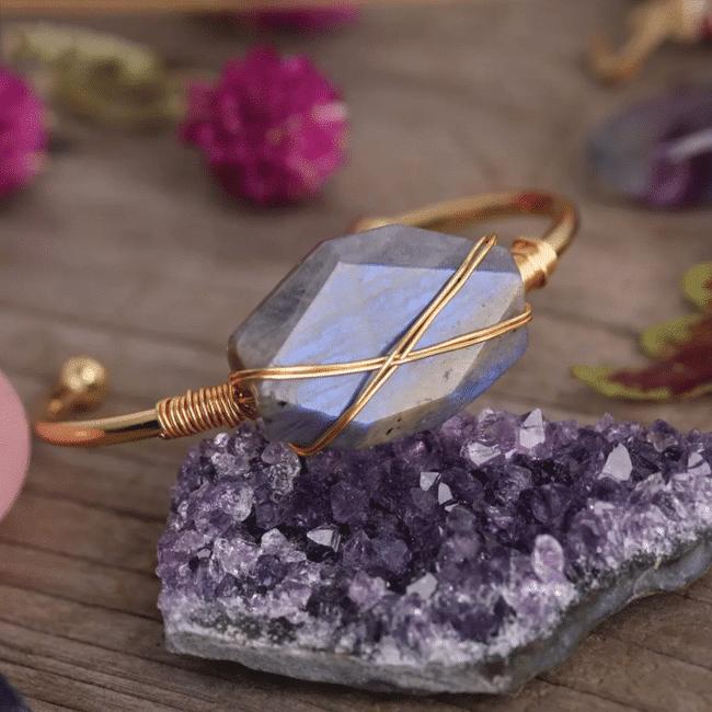 Bracelet gemme de labradorite Bijoux en pierre naturelle Bracelet en pierre naturelle