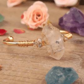 Bracelet en cristal de roche naturelle Bijoux en pierre naturelle Bracelet en pierre naturelle