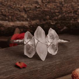 Bracelet en cristal de roche argenté Bijoux en pierre naturelle Bracelet en pierre naturelle