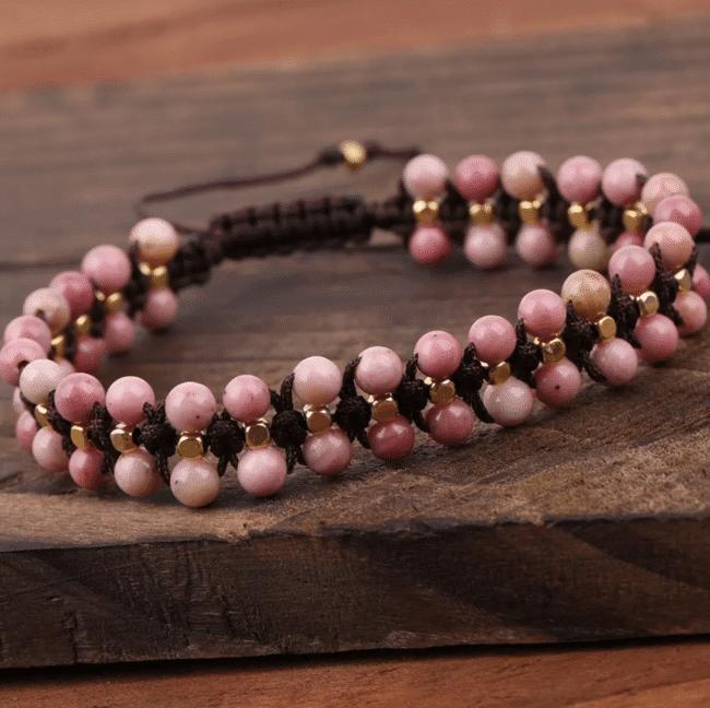 Bracelet tressé en rhodonite Bijoux en pierre naturelle Bracelet en pierre naturelle