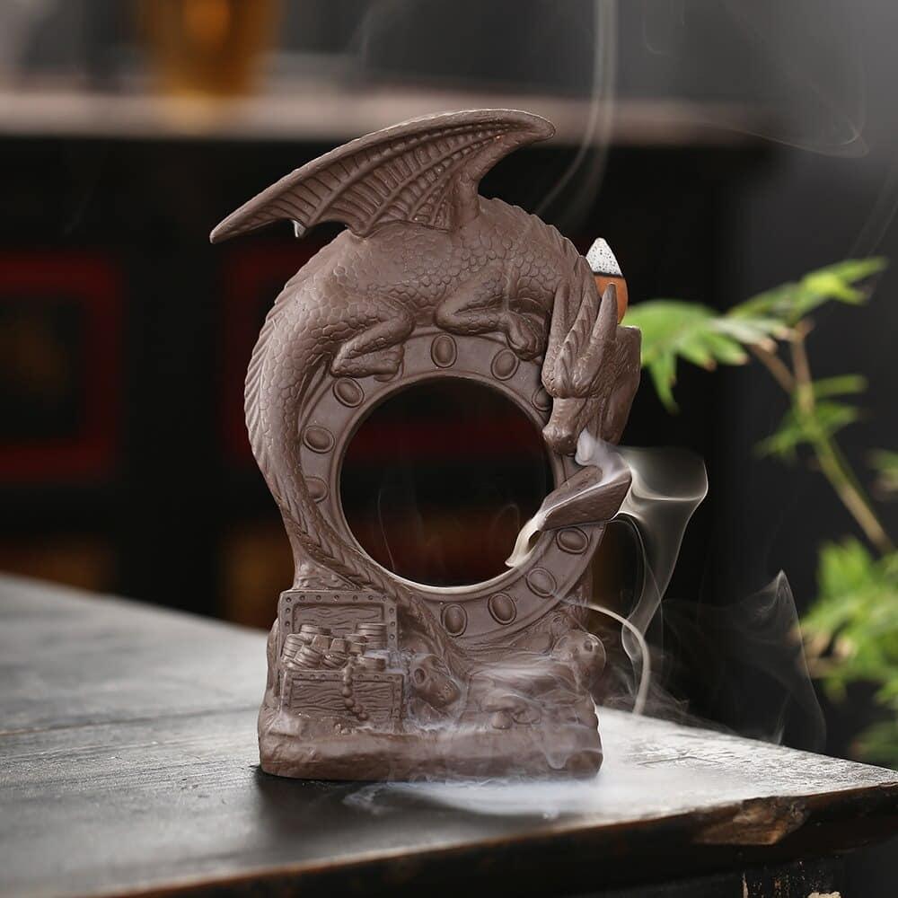 Porte encens dragon «Gardien du temps» Porte encens Porte Encens Cascade Porte Encens Céramique Porte Encens Design Porte Encens Dragon
