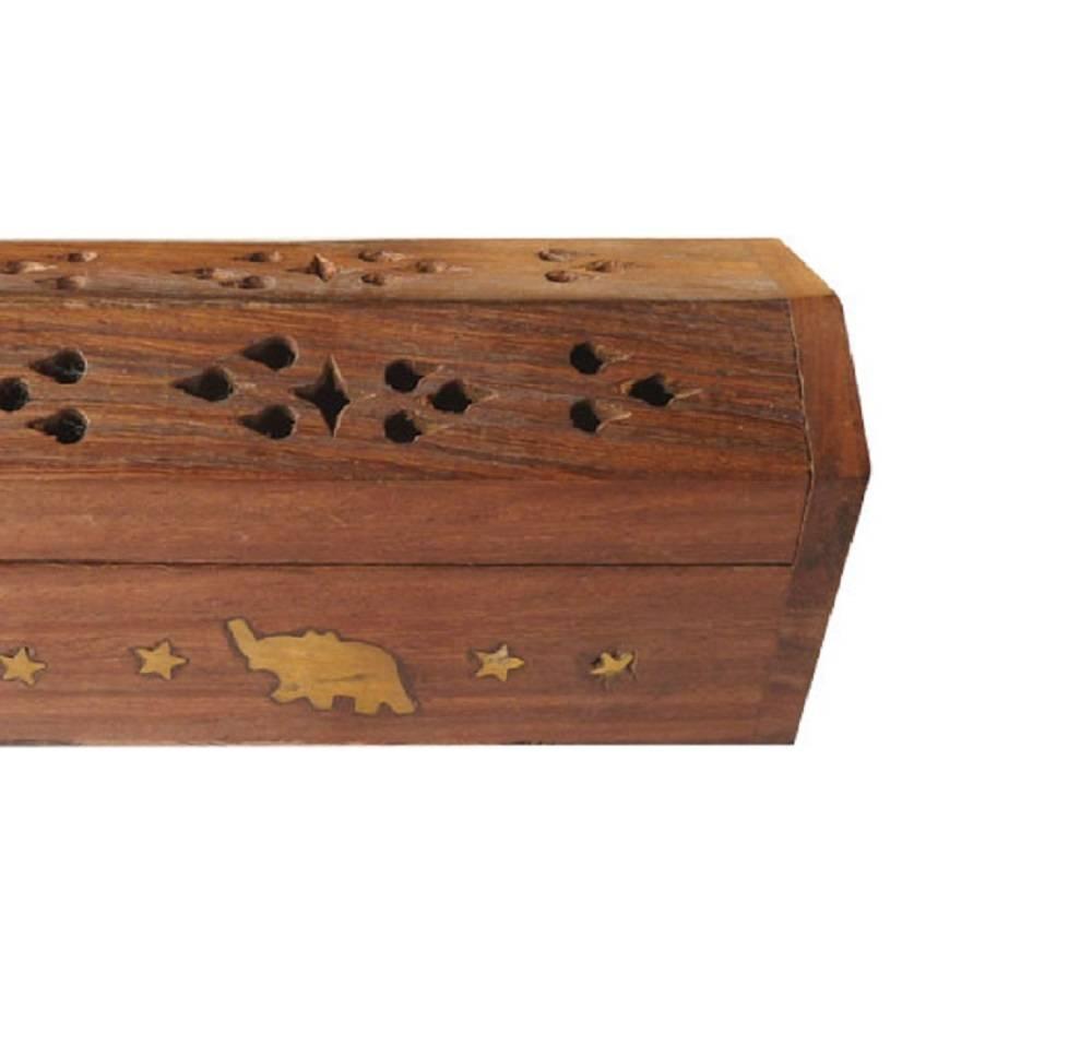 Coffre en bois porte encens éléphant