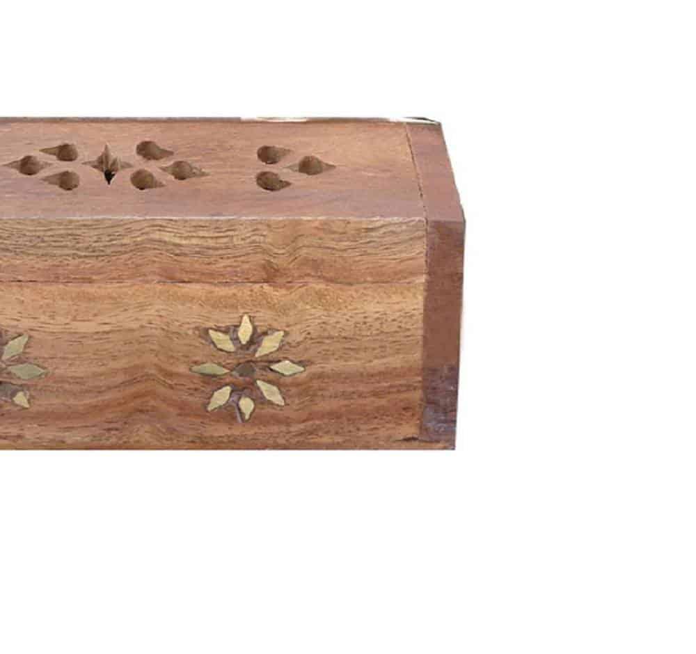 Coffre en bois porte encens fleurs de losanges https://www.chakras-shop.com