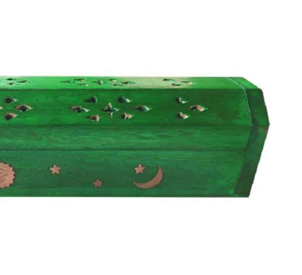 Coffre en bois vert porte encens jour & nuit