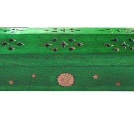 Coffre en bois vert porte encens jour & nuit Porte encens Porte Encens Bois