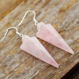 Boucles d'oreilles en pierre naturelle quartz rose