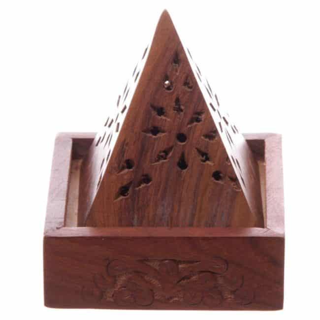 Brûleur encens pyramide en bois de Sheesham Porte encens Porte Encens Bois
