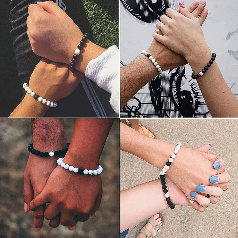 Bracelet couple noir & blanc