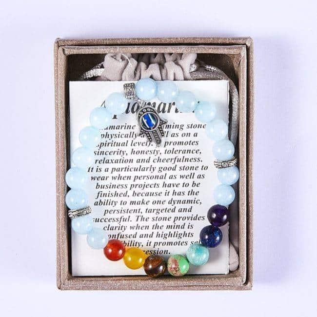 Bracelet 7 chakras main de fatma Non classé