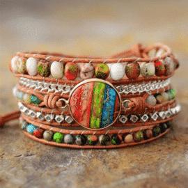 Bracelet 7 chakras main de fatma Bijoux pierre naturelle Bracelet 7 chakras Bracelet pierre naturelle
