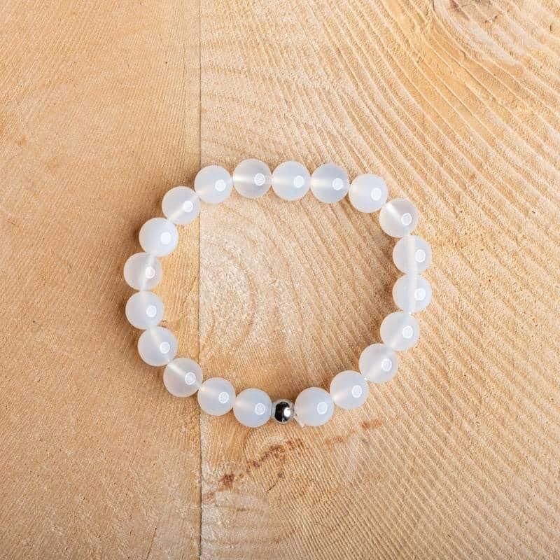Bracelet artisanal en Agate Blanche Bijoux en pierre naturelle Bracelet en pierre naturelle