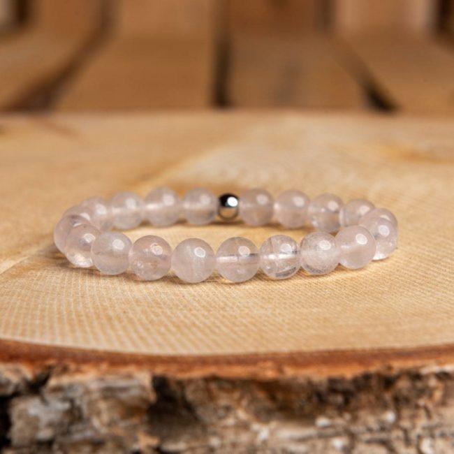 Bracelet artisanal en Quartz Rose Bijoux en pierre naturelle Bracelet en pierre naturelle