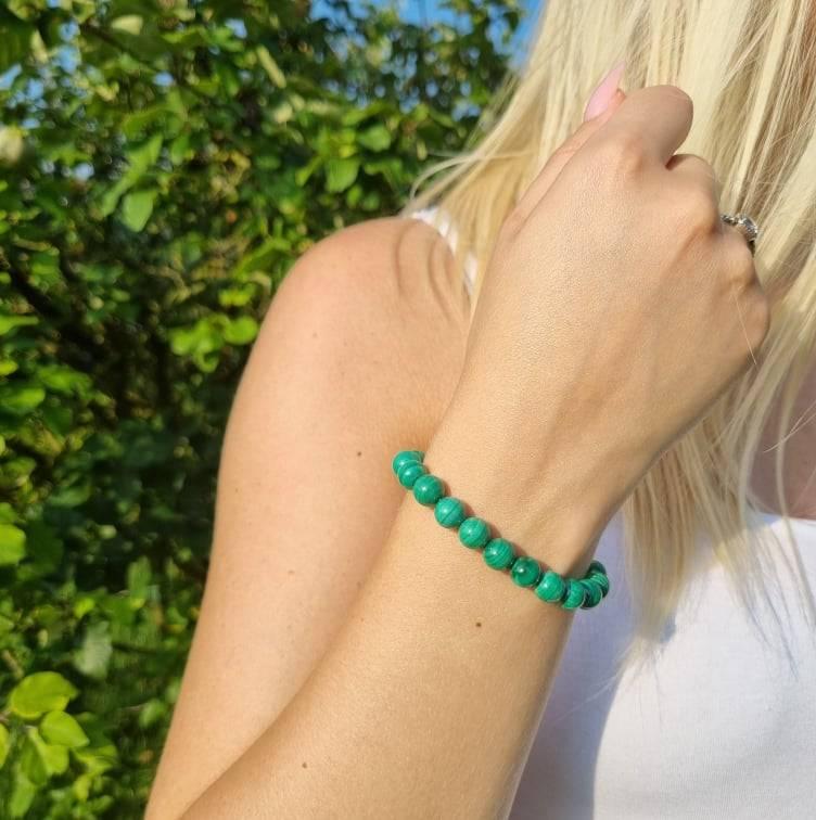 Bracelet artisanal en Malachite https://www.chakras-shop.com