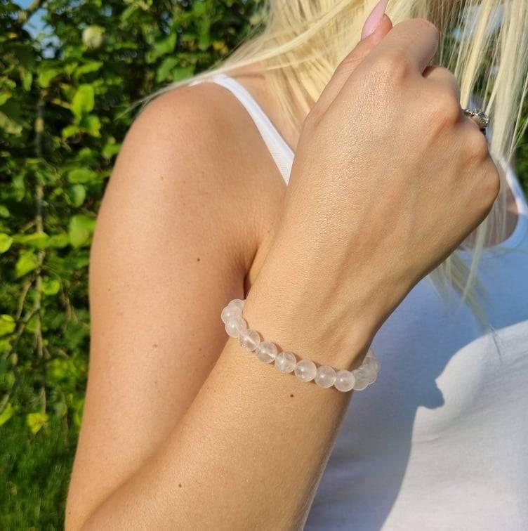 Bracelet artisanal en Quartz Rose