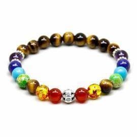 Bracelet 7 chakras oeil de tigre Bijoux en pierre naturelle Bijoux homme en pierre naturelle Bracelet en pierre naturelle Bracelets 7 chakras