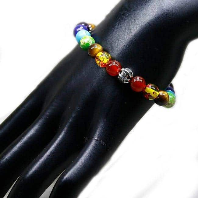 Bracelet 7 Chakras Oeil de Tigre Bijoux homme en pierre naturelle Bijoux pierre naturelle Bracelet 7 chakras Bracelet pierre naturelle