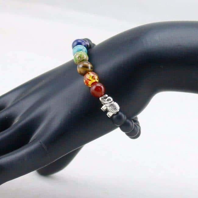 Bracelet 7 chakras onyx Bijoux en pierre naturelle Bijoux homme en pierre naturelle Bracelet en pierre naturelle Bracelets 7 chakras