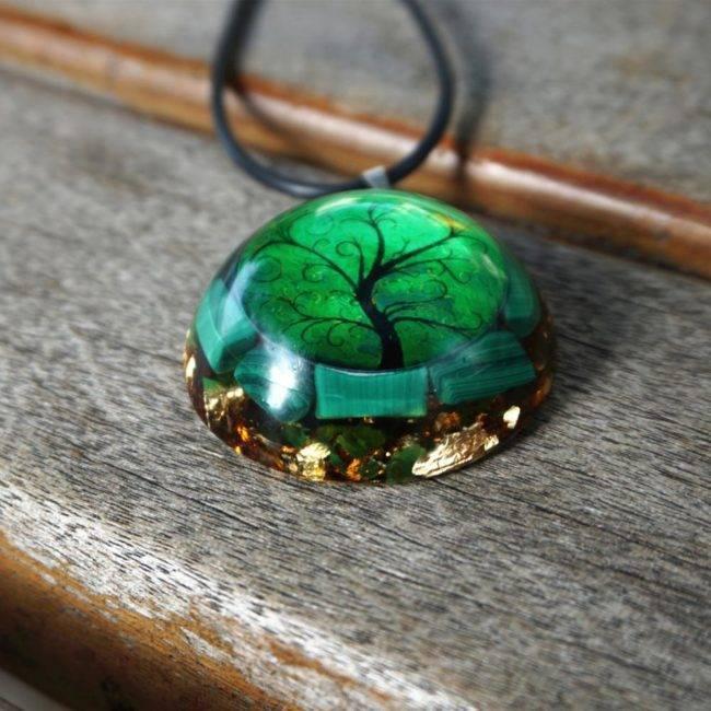 Orgonite Pendentif «Arbre de Vie» Bijoux pierre naturelle Collier pierre naturelle Orgonite