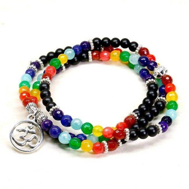 Bracelet 7 chakras noir Bijoux en pierre naturelle Bijoux homme en pierre naturelle Bracelet 7 chakras Bracelet en pierre naturelle
