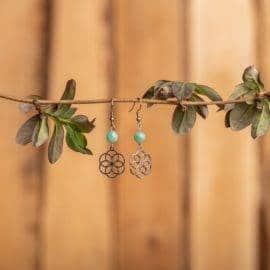 Boucles D'oreilles Fleur De Vie En Amazonite Bijoux pierre naturelle Boucles d'oreilles pierre naturelle