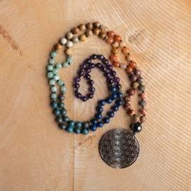 Collier 7 Chakras Vraies Pierres Bijoux pierre naturelle Collier pierre naturelle