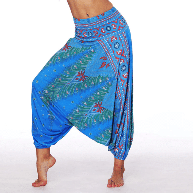 Pantalon Sarouel Large Bleu Pantalon Sarouel Color: 2