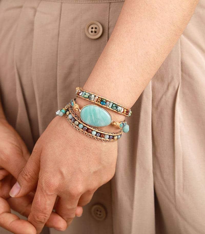 Bracelet Bohème Pierre d'Amazonite Bijoux pierre naturelle Bracelet pierre naturelle