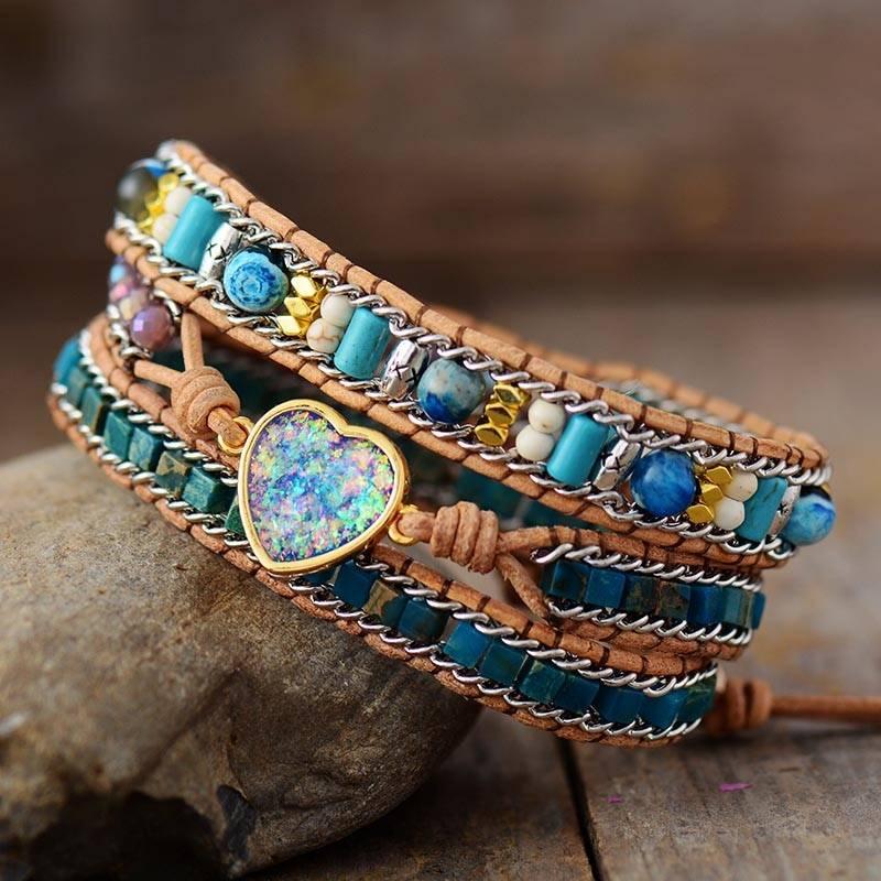 Bracelet en pierres naturelles Opale et Apatite Bijoux pierre naturelle Bracelet pierre naturelle