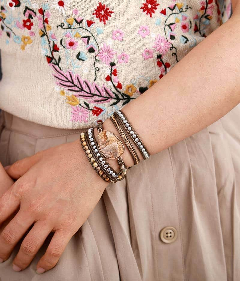 Bracelet en pierre naturelle de Jaspe Brun Bijoux pierre naturelle Bracelet pierre naturelle