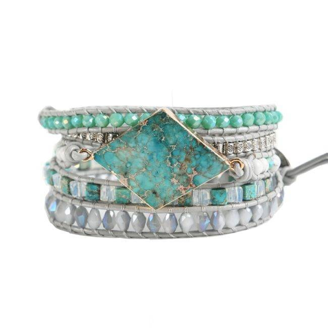 Bracelet en pierres naturelles d'Opale et Jaspe impérial bleu Bijoux pierre naturelle Bracelet pierre naturelle