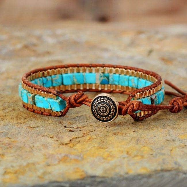 Bracelet en pierre naturelle Turquoise Doré Bijoux pierre naturelle Bracelet pierre naturelle